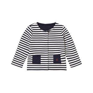 Petit Bateau Cream and Navy Stripe Collarless Jersey Jacket | AlexandAlexa