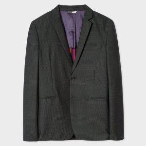 Paul Smith Men's Slim-Fit Dark Green Check Wool-Blend Blazer