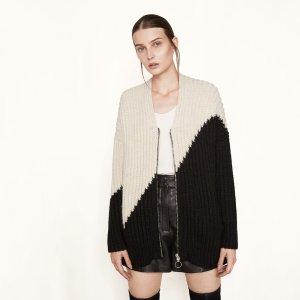 MAELIS Loose two-tone knit cardigan