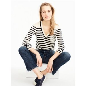 Striped V-neck sweater in summerweight cotton