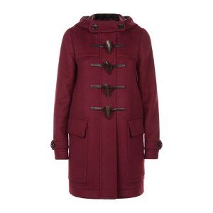 Burberry Brit Wool Duffle Coat With Check Lining Red