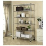 6 Tier Adjustable Wire Metal Shelving Rack w/ Wheels - Chrome