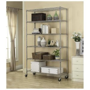 $57.996 Tier Adjustable Wire Metal Shelving Rack w/ Wheels - Chrome