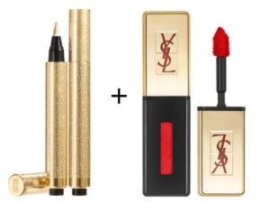 $62.4 TOUCHE ÉCLAT STROBING LIGHT + ROUGE PUR COUTURE GLOSSY STAIN @ YSL Beauty