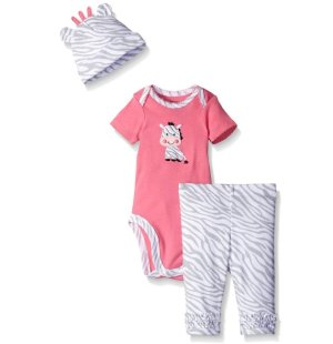 Gerber Baby Girls' 3 Piece Bodysuit, Cap, and Legging Set