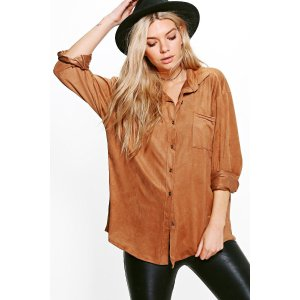 Tammy Oversized Suedette Shirt | Boohoo