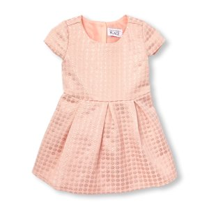 Toddler Girls Cap Sleeve Metallic Jacquard Flare Dress | The Children's Place