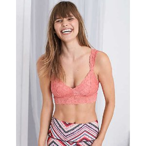 Aerie Classic Lace Bralette, Tropical Coral