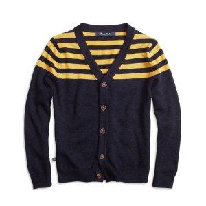 Boys' Navy Blue & Gold Striped Cardigan | Brooks Brothers