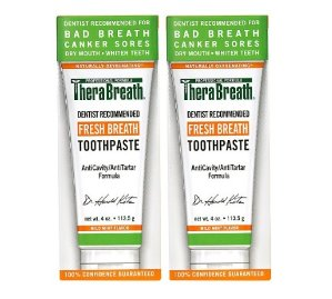 $11.94 TheraBreath Dentist Recommended Fresh Breath Dry Mouth Toothpaste, Mild Mint, 4 Ounce (Pack of 2)