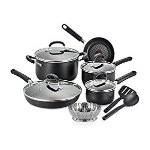 T-fal C085SC74 OptiCook Thermo-Spot Titanium Nonstick Dishwasher Safe Oven Safe Fry Pan Cookware Set