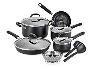 $48.11T-fal C085SC74 OptiCook Thermo-Spot Titanium Nonstick Dishwasher Safe Oven Safe Fry Pan Cookware Set
