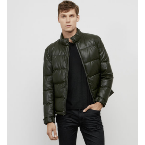 Faux Leather Puffer Jacket | Kenneth Cole