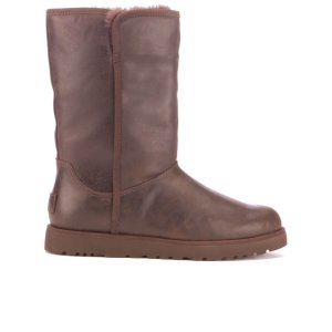 UGG Women's Michelle Leather Classic Slim Sheepskin Boots - Stout - FREE UK Delivery