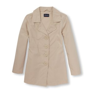 Girls Long Sleeve Solid Poplin Trench Coat | The Children's Place