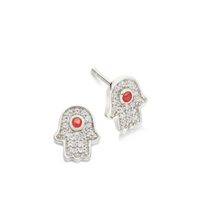 Silver Mini Hamsa Biography Stud Earrings | Astley Clarke London