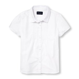 Girls Uniform Short Sleeve Pintucked Button-Down Collared Top | The Children's Place