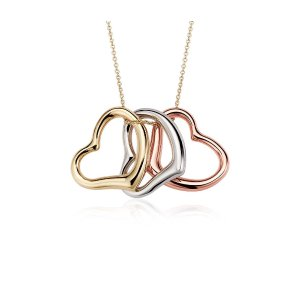 Heart Pendant in 14k Tri-Color Gold | Blue Nile
