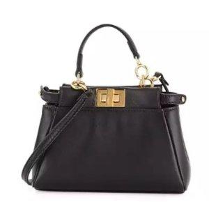 Fendi Peekaboo Micro Satchel Bag, Black