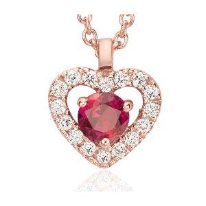 Petite Ruby and Diamond Pavé Heart Pendant in 14k Rose Gold (3mm) | Blue Nile