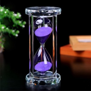 30 Minutes Hourglass, SZAT Sand Timer Romantic Crystal Sandy Clock with Purple Sands