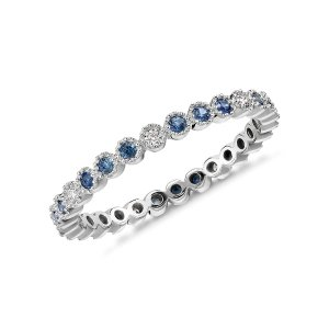 Sapphire and Diamond Eternity Ring in 14k White Gold (1.3mm ) | Blue Nile