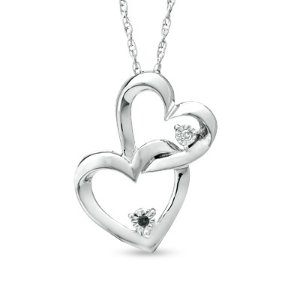 Enhanced Black and White Diamond Accent Interlocking Hearts Pendant in Sterling Silver - Save on Select Styles - Zales