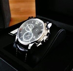 $465.31 Hamilton Men's Jazzmaster Black Chronograph Dial Watch