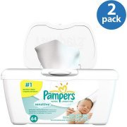 Pampers Sensitive Baby Wipes, 64 sheets (Pack of 2)