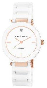 $10 Off $100 Anne Klein Women's AK/1018RGWT Diamond-Accented White Ceramic Bracelet Watch