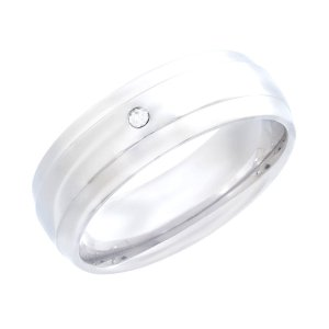 Stainless Steel Ring with Brushed Center and CZ Stone