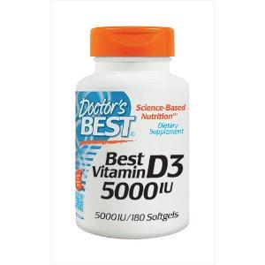 Doctor's Best Vitamin D3 -- 5000 IU - 180 Softgels