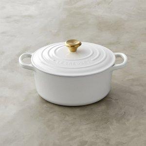 Le Creuset Signature Cast-Iron Dutch Oven with Gold Knob, White