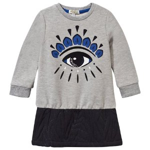 Kenzo Kids Grey Marl Eye Embroidered and Jacquard Sparkle Hem Dress | AlexandAlexa