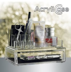 $9.99 Acrylic Makeup & Jewelry Organizer, Arranges Makeup and Accessories, 2 Piece Cosmetic Storage Display Box