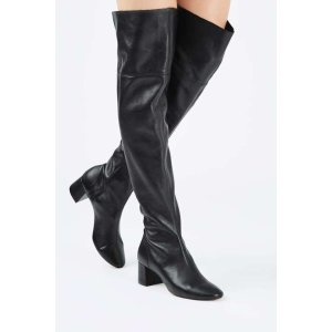 CARAMEL Leather High Knee Boots A