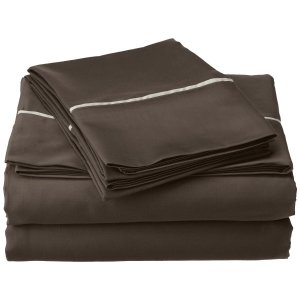 Cotton Blend 600 Thread Count, Deep Pocket, Soft, Wrinkle Resistant 4-Piece California King Bed Sheet Set, Bahama Solid, Grey with Silver Trim