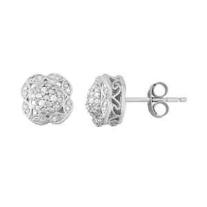 Simply Vera Vera Wang Sterling Silver Diamond Accent Flower Stud Earrings