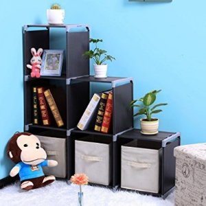 $19.99 SONGMICS 3-tier Storage Cube Closet Organizer Shelf 6-cube Cabinet Bookcase Black ULSN63H