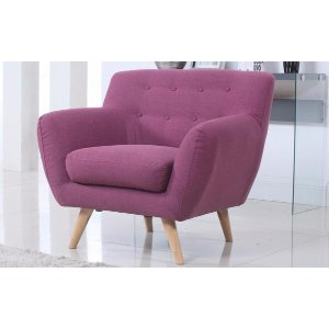 Mid-Century Modern Tufted Linen Fabric Accent Chair, Purple - Sofamania