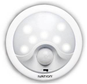 $7.99 Ivation 8-LED Automatic Motion-sensing Night Light - Battery Powered Bright Hallway Light with a built in Motion and light Sensor