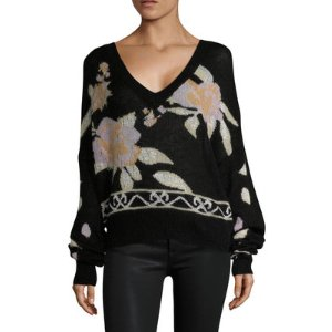 Wildfox Posey Floral Intarsia V-Neck Sweater