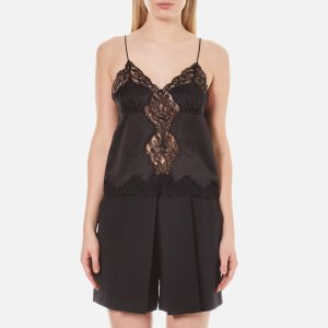 Alexander Wang Women's Button-Up Lace Trim Cami Top with Smocking Detail - Matrix - Free UK Delivery over £50