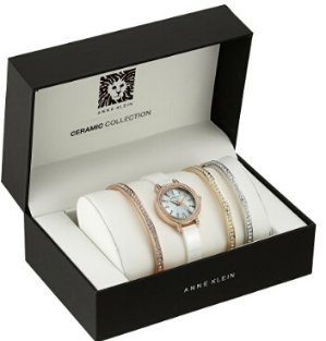 $67.01 Anne Klein Women's AK/2180WTST Swarovski Crystal Accented Rose Gold-Tone and White Ceramic Bangle Watch and Bracelet Set