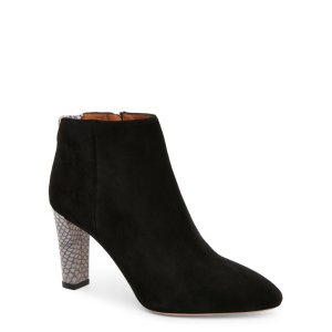 ACNE STUDIOS Black Alba Suede Trimmed High Heel Ankle Booties
