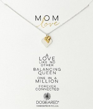 Dogeared Mom Love Perfect Heart with Mini Stone Heart Necklace