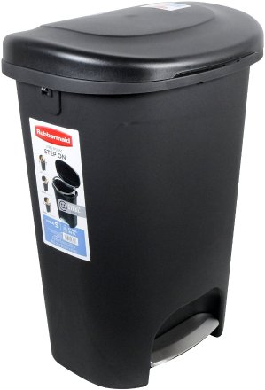 Rubbermaid 1843029 Step-On Wastebasket, 13-Gallon, Metal-Accent Black