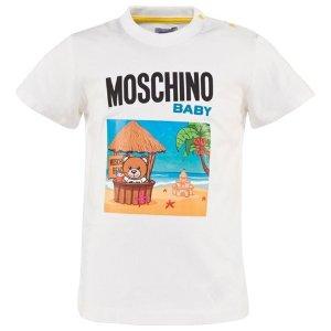Moschino White Beach Bear Print Tee | AlexandAlexa