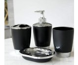 Silver Accent 4 Piece Bathroom Accessory Set