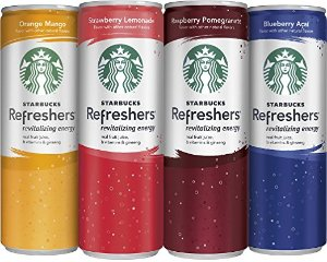 $14.44 Starbucks Refreshers, 4 Flavor Variety Pack, 12 Ounce Slim Cans, 12 Pack